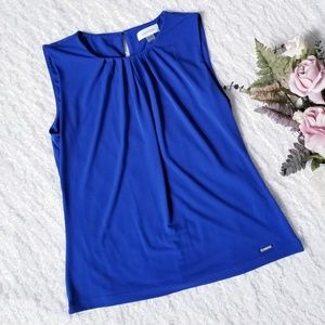 Calvin Klein Sleeveless Cobalt Blouse Gathered